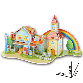 3D DIY Puzzle Jigsaw Baby toy Kid Early learning Castle Construction pattern gift For Children Brinquedo Educativo Houses Puzzle 6