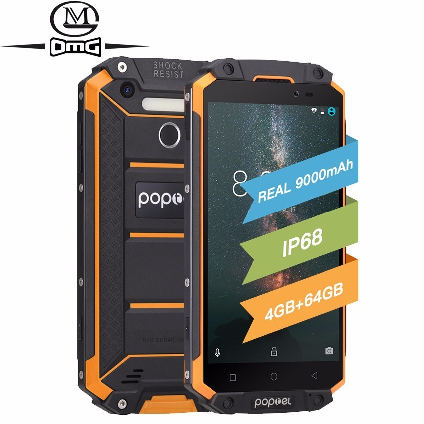 POPTEL P9000 Max 9000mAh IP68 Waterproof shockproof Mobile phone Android 7.0 MTK6750 Octa Core 4GB+64GB 5.5 4G LTE Smartphone
