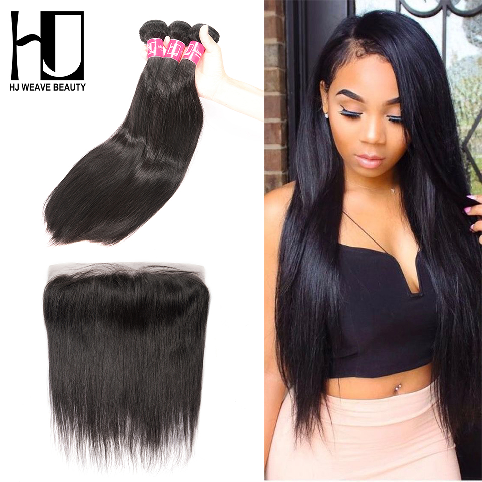 HJ WEAVE BEAUTY Bundles With Frontal Human Hair Brazilian Hair Weave Bundles Straight 6A Remy Hair