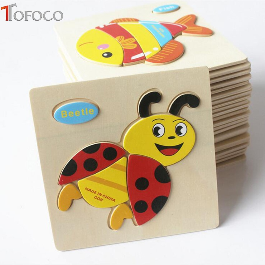 TOFOCO Kid Wooden Montessori Animals Car Cartoon Picture Puzzle Baby Educational Toys train children newborn early development cartoon wooden puzzle 1000pieces animals cube wood kids toys educational montessor ijigsaw puzzle adulto children toys 60d0046