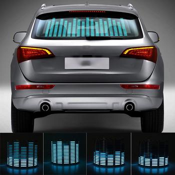 90*25cm samochód niebieski LED muzyka rytm latarka czujnik aktywowany dźwiękiem korektor tylna naklejka na przednią szybę stylizacja lampa neonowa Kit tanie i dobre opinie Niscarda CN (pochodzenie) Klimatyczna lampa Blue Rear 45*11cm 90*10cm 90*25cm 114*30cm