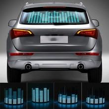 90*25cm Car Blue LED Music Rhythm Flash Light Sound Activated Sensor Equalizer Rear Windshield Sticker Styling Neon Lamp Kit