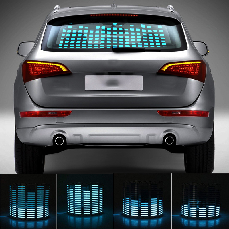 Niscarda Car Blue LED Music Rhythm Flash Light Sound Activated Sensor Equalizer Rear Windshield Sticker Styling