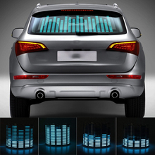 Niscarda 자동차 블루 LED 음악 리듬 플래시 라이트 사운드 활성화 센서 이퀄라이저 후면 윈드 실드 스티커 스타일링 네온 램프 키트