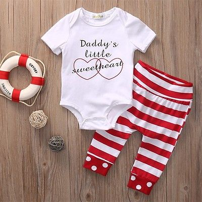 2pcs !!Newborn Infant Baby Girls Clothes Summer Short Sleeve Daddy Romper+Striped Long Pants Outfit Set Baby Cotton Clothes 2017 summer newborn infant baby girls clothing set crown pattern romper bodysuit printed pants outfit 2pcs