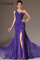 Free Shipping New Sexy Pageant Dresses One Shoulder High Slit Chiffon Evening Dresses Evening Gowns