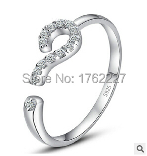 Genuine S925 sterling silver ring rhinestone crystal love confession question mark engagement rings for women free shipping