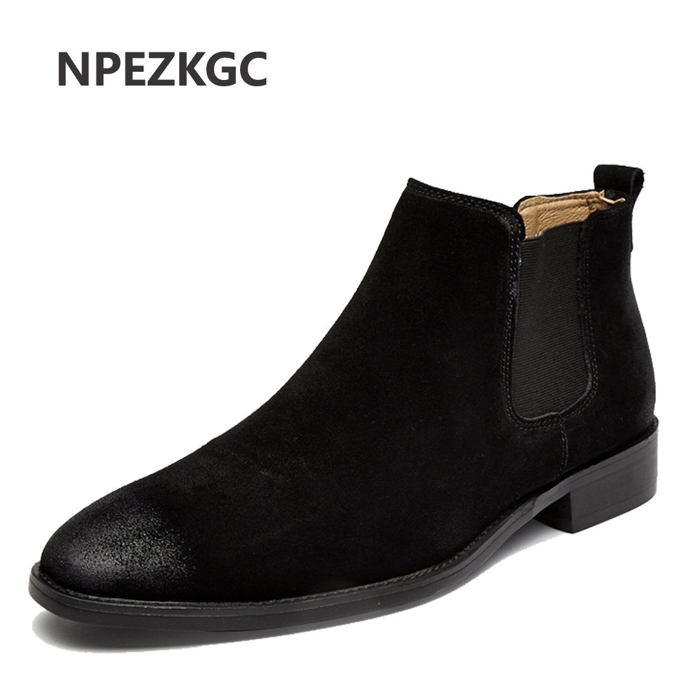 NPEZKGC 2019 Classic Chelsea Boots Men Handmade Suede Ankle Boots Male Bespoke Autumn Square Toe Men's Shoe Wedding Office Botas