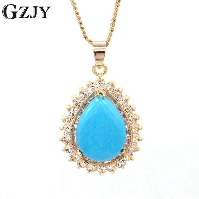 Fashion Jewelry Champagne Gold Color Waterdrop Blue Stone Zircon Pendants Necklaces For Women Wedding Party Jewelry