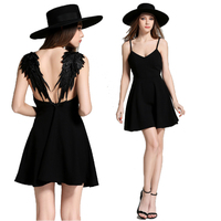 f58b569c82 2017 Summer Black White Lace Angel Wings Dress Casual Slim Sexy Backless  Beach Dresses Women Spaghetti