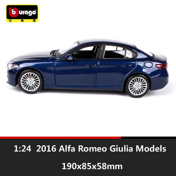 1:24 bburago miniature 2016 Alfa Romeo Giulia 952 metal diecast auto scale cars model vehicle saloon collection toy for children image