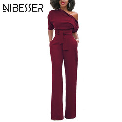 NIBESSER Jumpsuits Romper Women Overall Sexy One Shoulder bodycon tunic Jumpsuit for party elegant Wide Leg Pant body femme 2018