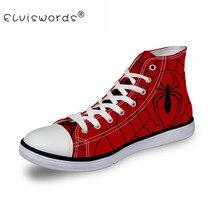 ELVISWORDS High Top Men Canvas Vulcanized Shoes Cool Spiderman Logo Print Men High-top Shoes Fashion Men's Leisure Shoes Zapatos