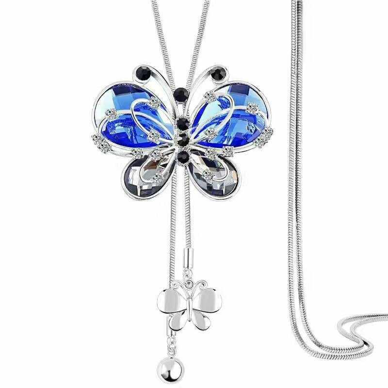 Главенствующая женская новая кристальная кофта-бабочка на цепочке с длинными кисточками ожерелье универсальная отделка