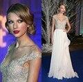 2017 Celebrity Dresses A-line Cap Mangas Opacidad Apliques de Gasa Blanca Elegante Vestidos de Noche Largos Vestidos de la Alfombra Roja