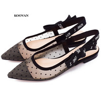 Koovan Women's Flats Bottom Sandals 2018 Silk Yarn Wavy Bow A Pointed Dew Single Flat With Roman Women's Shoes Girls Sexy Shoes