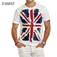 Free Shipping 2014 New Summer E BAIHUI Fashion Cotton 100 4 Colors Union Jack Men T