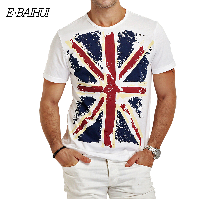 E-BAIHUI Brand Cotton men Clothing Male Slim Fit t shirt Mans