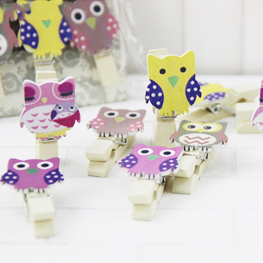 50pcs Mini owl Wooden Photo Paper Peg Pin Clothes Postcard Clips Craft With Rope