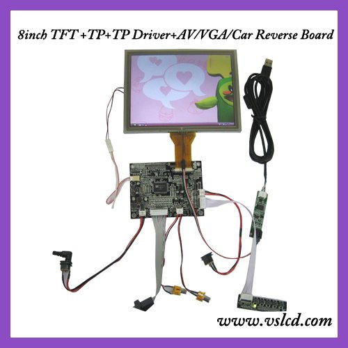 8inch tft lcd with touch panel 800*600 resolution AT080TN52 + VGA+2AV + reversing  driver board automatically switch to AV2 hdmi vga 2av reversing driver board 8inch at080tn52 800 600 with touch panel