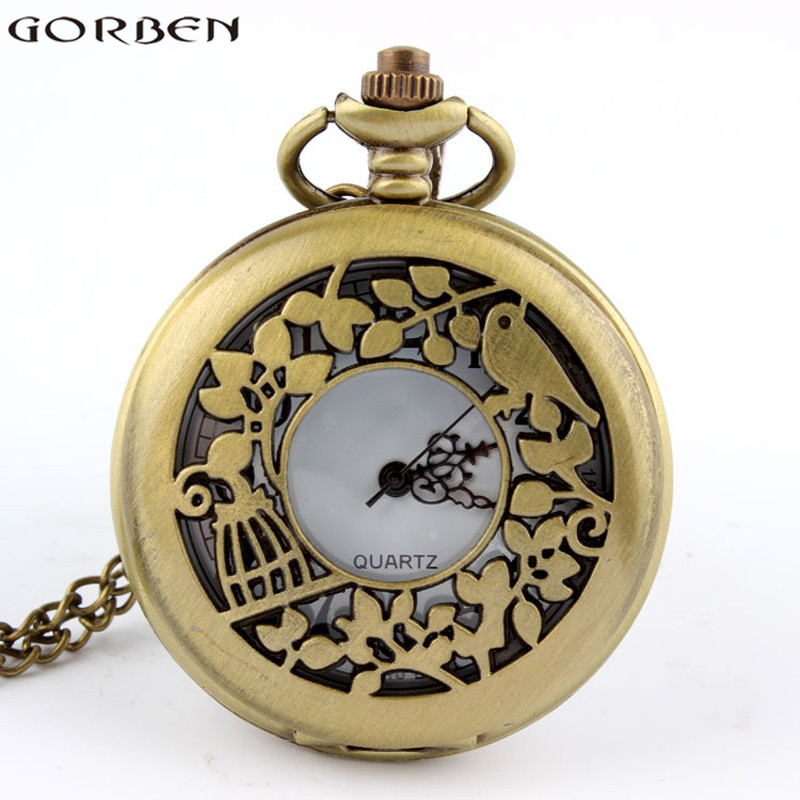 Retro Bronze Hollow Love Bird Flower Quartz Pocket Watch Necklace Steampunk Cute Pendant Clock Woman Mens Gift