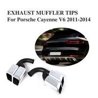 2 pz/set V6 In Acciaio Inox Auto auto Lungo Tubo End Consigli di Silenziatori per Porsche Cayenne V6 2011-2014 Tuning Auto parti