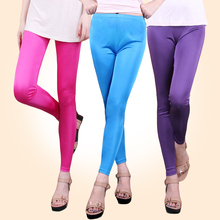 Female silk double faced long trousers candy legging slim pencil pants