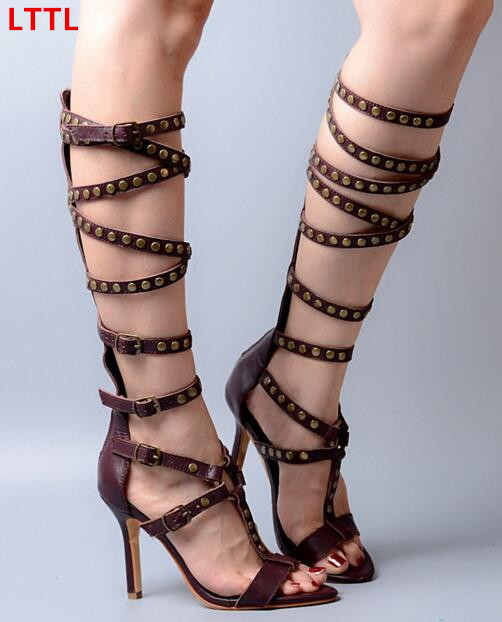 Super high heels gladiator sandal boots woman metal studded peep toe buckles strap knee high boots stiletto heel summer sandals new popular black and white exquisite beads and rivets decorated three buckles peep toe high heeled short sandal boots