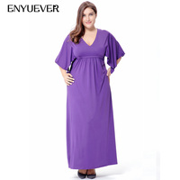 Enyuever Elegant Women Dress Plus Size Clothing V Neck Purple Batwing Sleeve Casual Maxi Long Beach Party Dress 2019 Vestidos