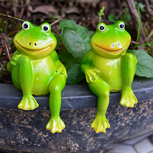 1Pair Cute Resin Sitting Frogs Statue Garden Store Decorative Frog Sculpture for Outdoor Pond - Little