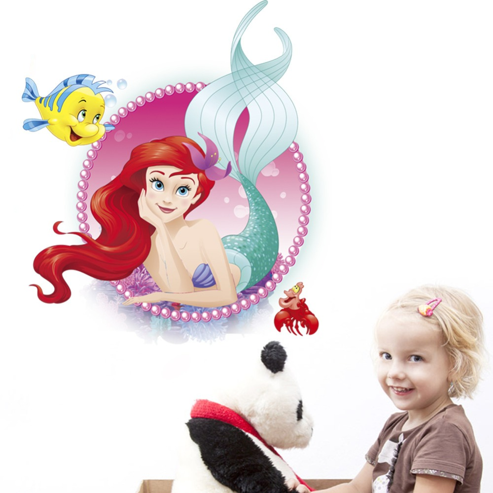 3D Mermaid Wall Sticker Direct Manufacture Vivid Cartoon mural decals for Kids Bedroom Decoration DIY Home Decor Ocean Style