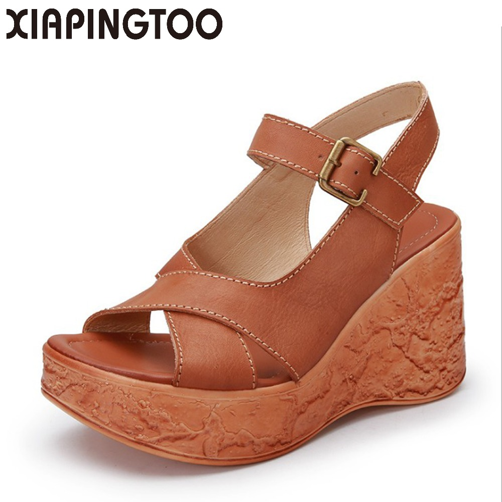 Women Natural Leather Buckle Strap Sandals Summer Solid Shoes Woman Wedges High Heel Quality Zapatos Mujer Medium Heel Platform venchale 2018 summer new fashion sandals wedges platform women shoes height heel 10 cm buckle strap casual cow leather sandals
