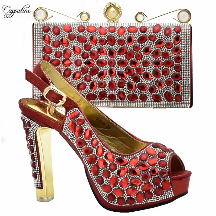 Nice red with luxury stones high heel sandal shoes and purse bag set for wedding/party 988-4  heel height 12CM