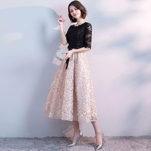 Image 4 - FADISTEE חדש הגעה אלגנטית ערב מסיבת שמלות נשף תה אורך שמלת אונליין סאטן תחרה חלוק דה Soiree חצי תחרה שרוולים