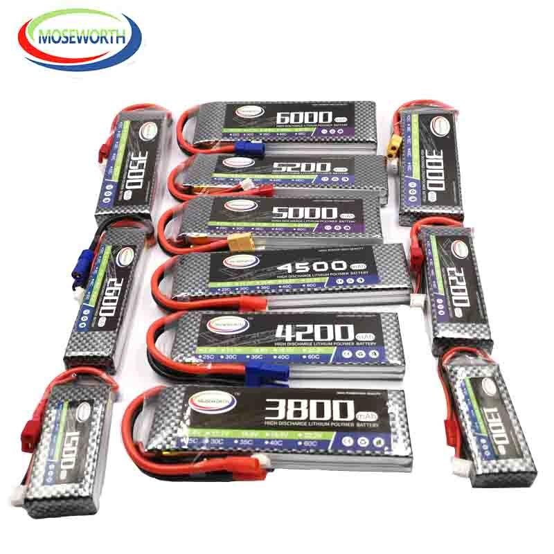 RC LiPo Bateria 2S 7.4V 1500 2200 2600 3000 3500 4200 5000mAh 30C 40C 60C Para RC zangão Helicóptero Avião Barco carro T/XT60 Plug