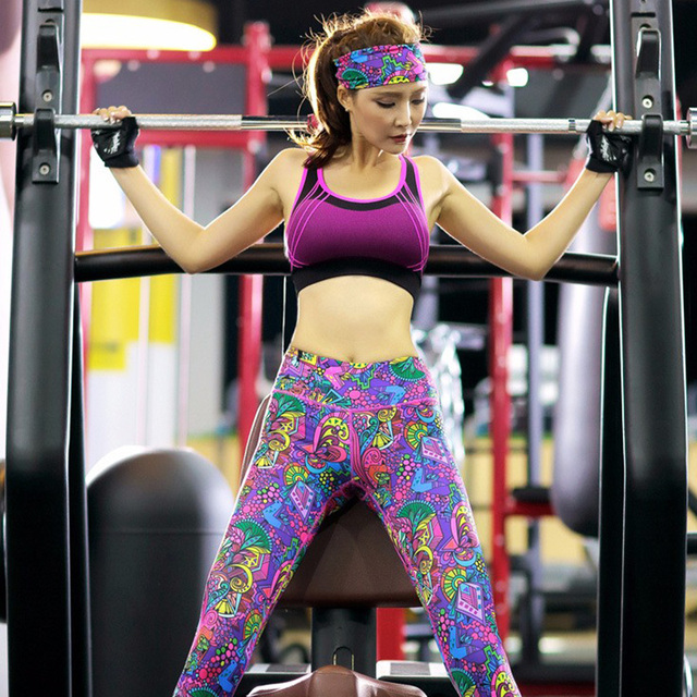 Women's Colorful Print Yoga Bra, Headband and Leggings Set   13 Colors & Styles  S-XL