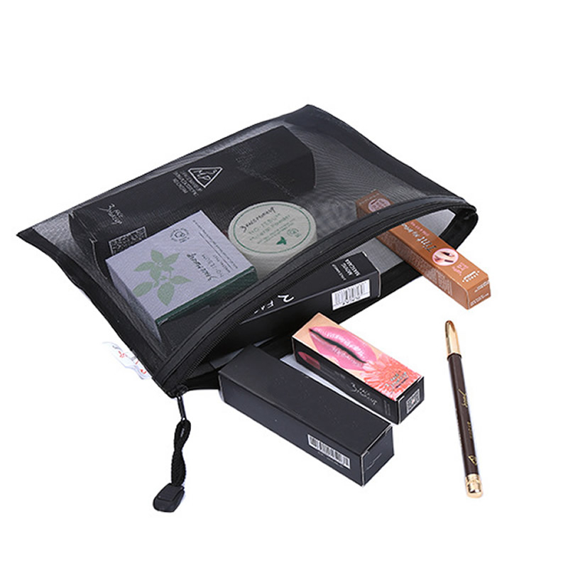 Grid Transparent Cosmetic Bag Women Travel Function Makeup Bag Zipper Make Up Organizer Storage Pouch Toiletry Beauty Wash Case