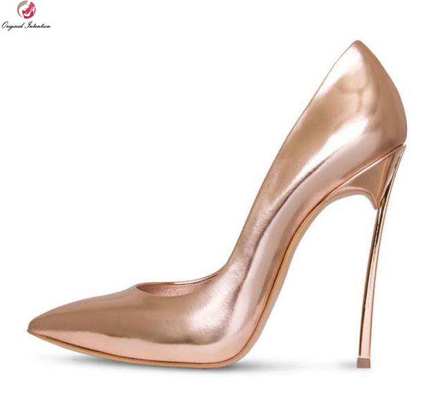 Original Intention Fashion Women Pumps Pointed Toe Metal Thin Heels Pumps Gold Silver Champagne Shoes Woman Plus US Size 4-10.5