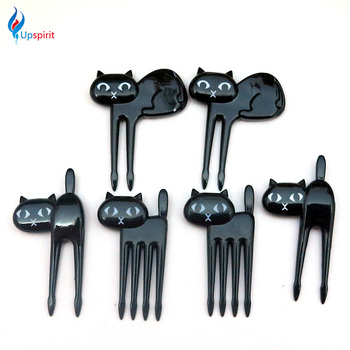 2016 New 6Pcs Mini Animal Fork Fruit Picks Cute Cartoon Cat Children Fork Bento
