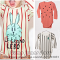 2016 New Bobo Choses Autumn Winter Rabbit loves striped pattern Cotton Bodysuit For Baby Boys Girls Toddler's