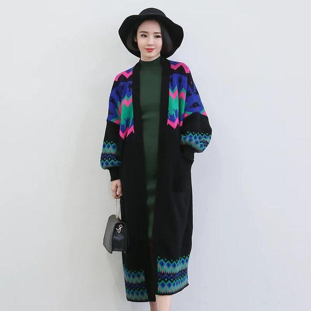 Personalidad de la moda de las mujeres chaqueta de punto de las mujeres suéter grueso Femenino de Gran tamaño Rompevientos abrigo cálido patrón Abstracto L6097