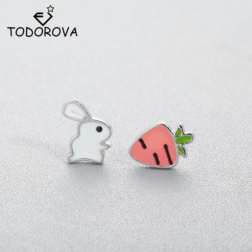 Todorova Cute Animal Bunny Rabbit Carrot Stud Earrings For Women Enamel Asymmetry Creative Cartoon Ear Jewelry For Child Girls