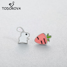 US $0.8 60% OFF|Todorova Cute Animal Bunny Rabbit Carrot Stud Earrings for Women Enamel Asymmetry Creative Cartoon Ear Jewelry for Child Girls-in Stud Earrings from Jewelry & Accessories on AliExpress