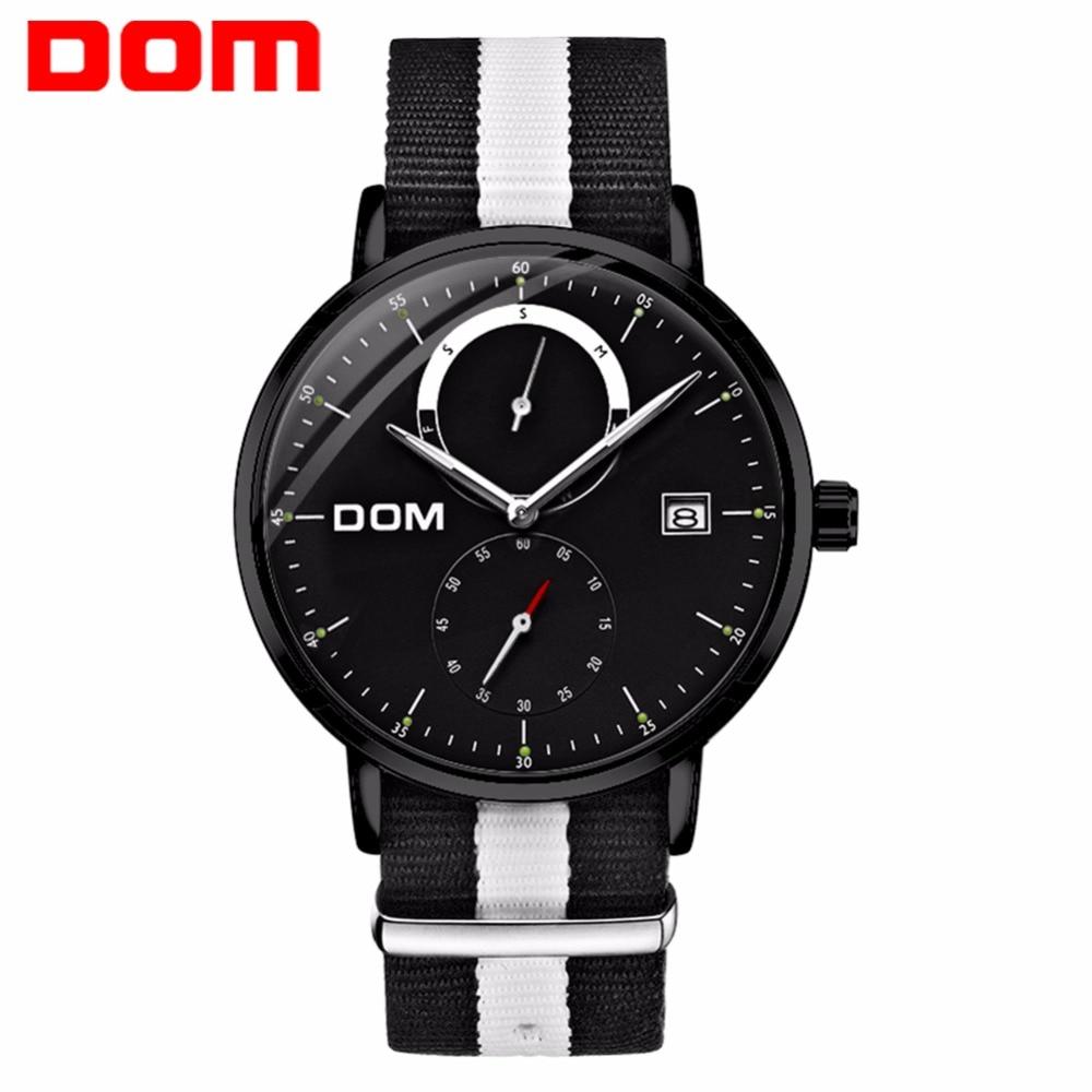 лучшая цена DOM Mens Watches Top Brand Luxury Multi Function Mens Sport Quartz Watches Waterproof Nylon belt Wrist Watch reloj hombre M-436