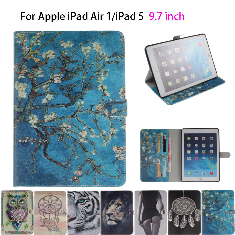 Fashion Painted Tiger Owl Girls Flip Silicone Leather sFor iPad Air Case For Apple iPad Air iPad 5 Smart Case Cover Shell Funda smart tiger