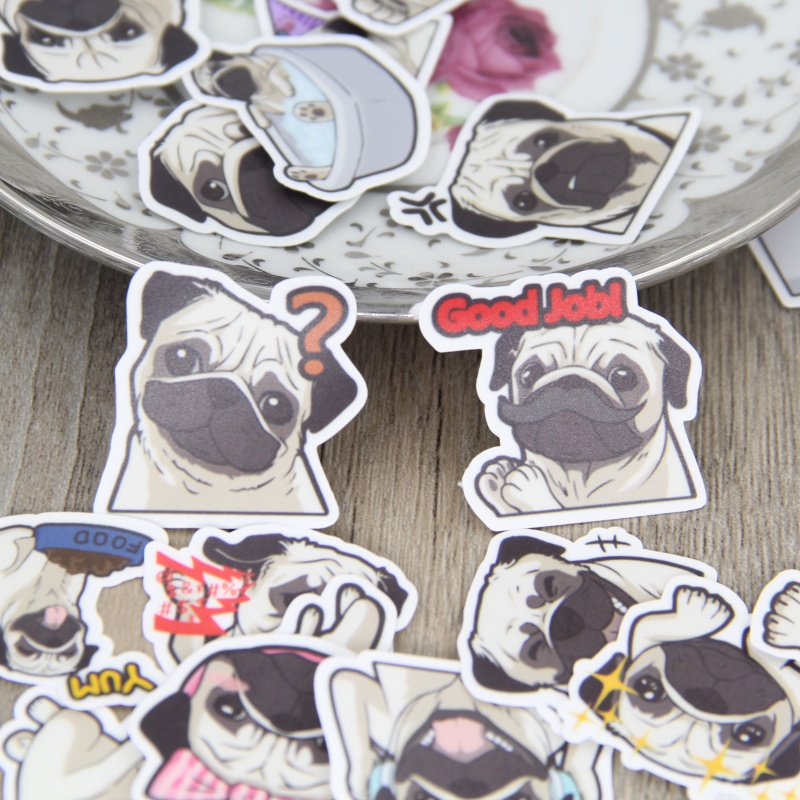 40 Pcs Cute Pug Stickers For Laptop Snowboard Home Decor Car Styling Decal Fridge Doodle Fashion Waterproof Kid DIY Sticker