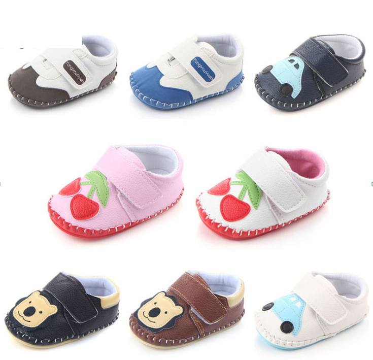 Toddler Shoes Newborn First-Walkers Rubber-Sole Bear Spring Sewing-Bag Car-Grape Cherry
