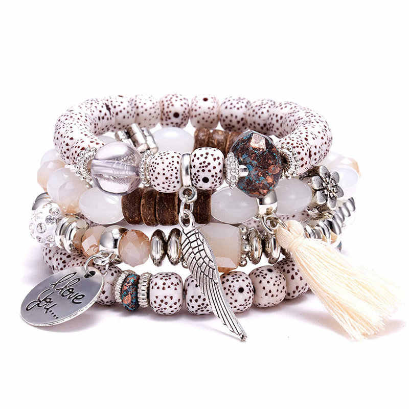 Crystal Bead Bracelets for Women Vintage Bracelet Female Jewelry Tassel Natural Stone Charms Wristband Gift
