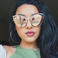 New Fashion Cat Eye Sunglasses Women Brand Designer Twin-Beam Mirror Sun Glasses Vintage Female lentes de sol mujer Sunglasses