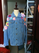 Brand Fashion Stereo Handmade Flowers Beading Autumn Denim Jacket Sexy Off Shoulder Loose Female Jeans Coat
